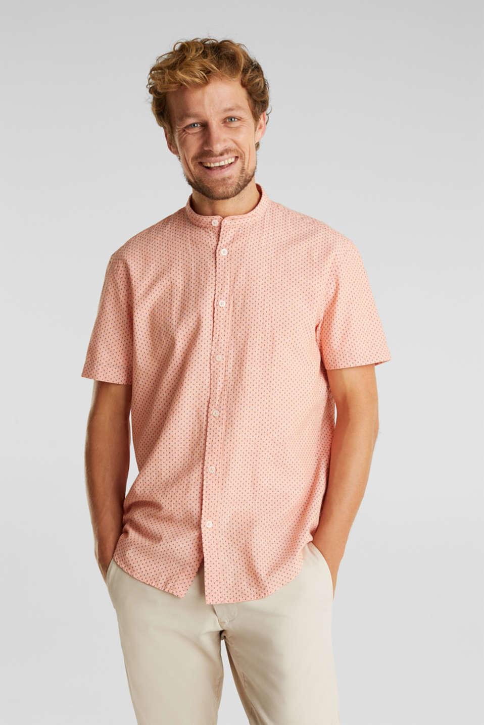 Blended linen: short sleeve shirt with band collar, ORANGE 4, detail image number 0