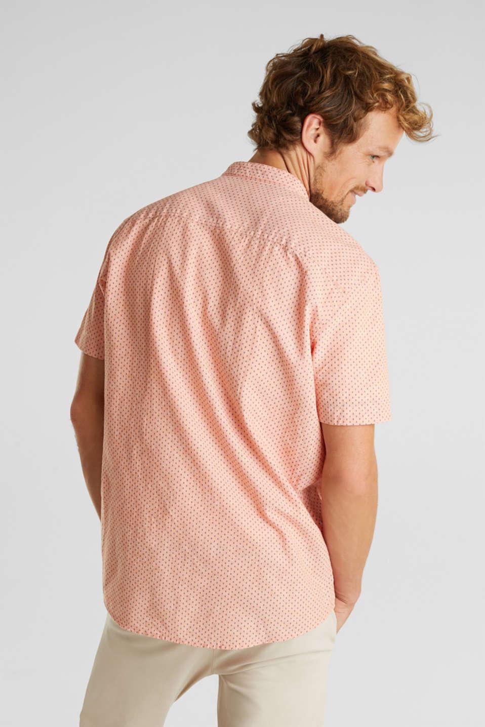 Blended linen: short sleeve shirt with band collar, ORANGE 4, detail image number 3