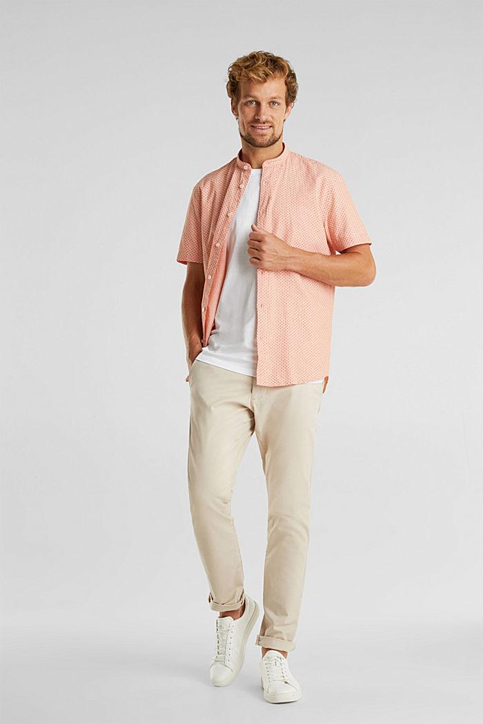 Met linnen: overhemd met korte mouwen en opstaande kraag, ORANGE, detail image number 1