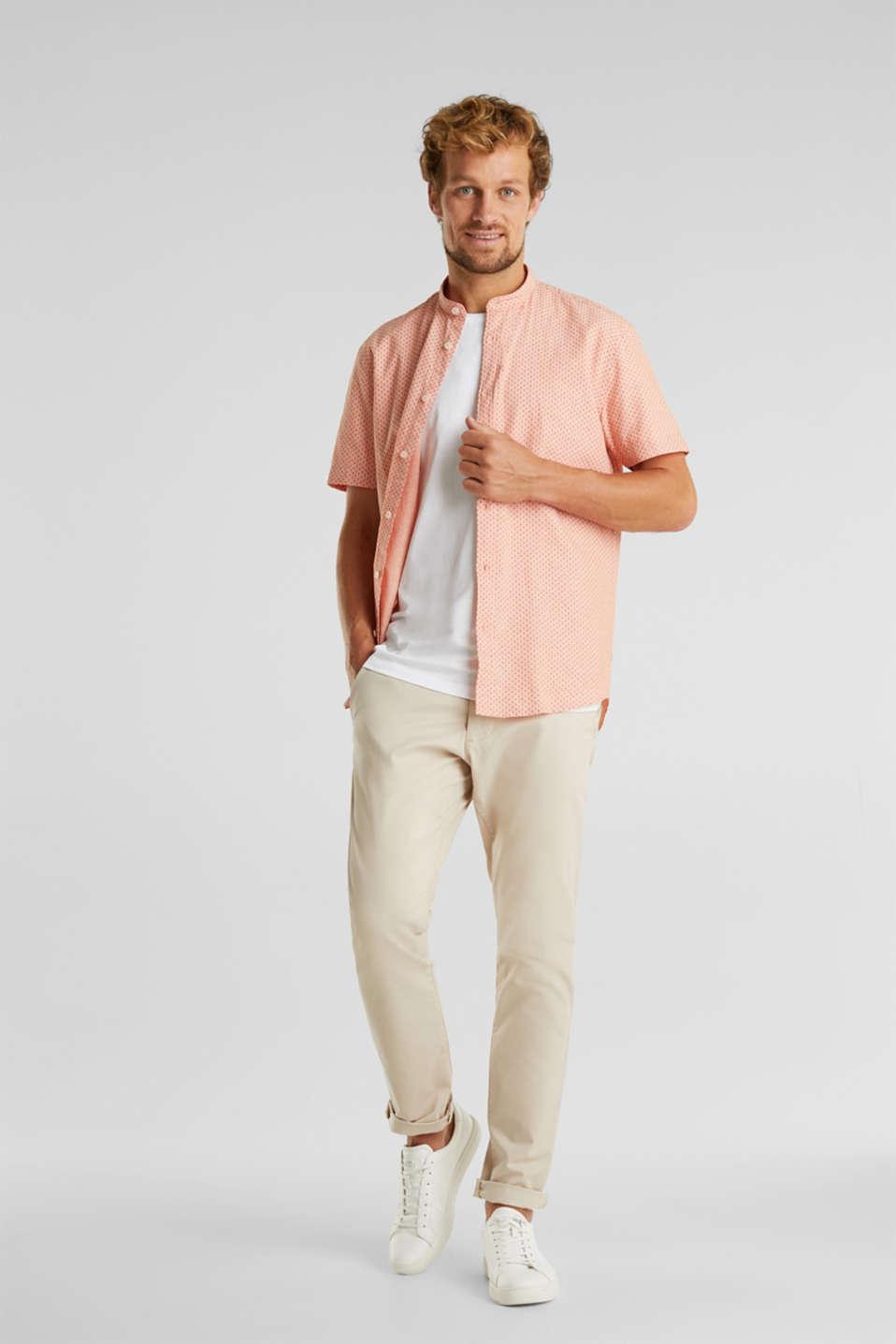 Blended linen: short sleeve shirt with band collar, ORANGE 4, detail image number 1