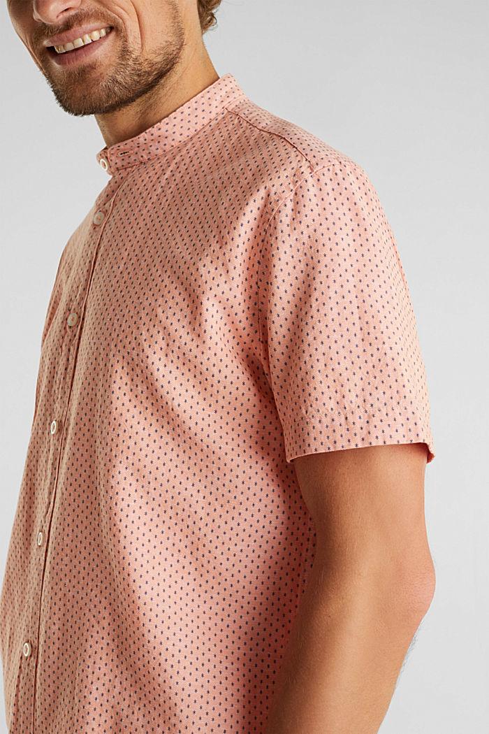 Mit Leinen: Kurzarm-Hemd mit Stehkragen, ORANGE, detail image number 2