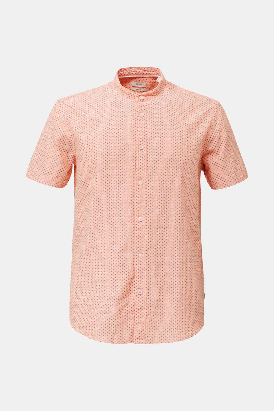 Blended linen: short sleeve shirt with band collar, ORANGE 4, detail image number 7