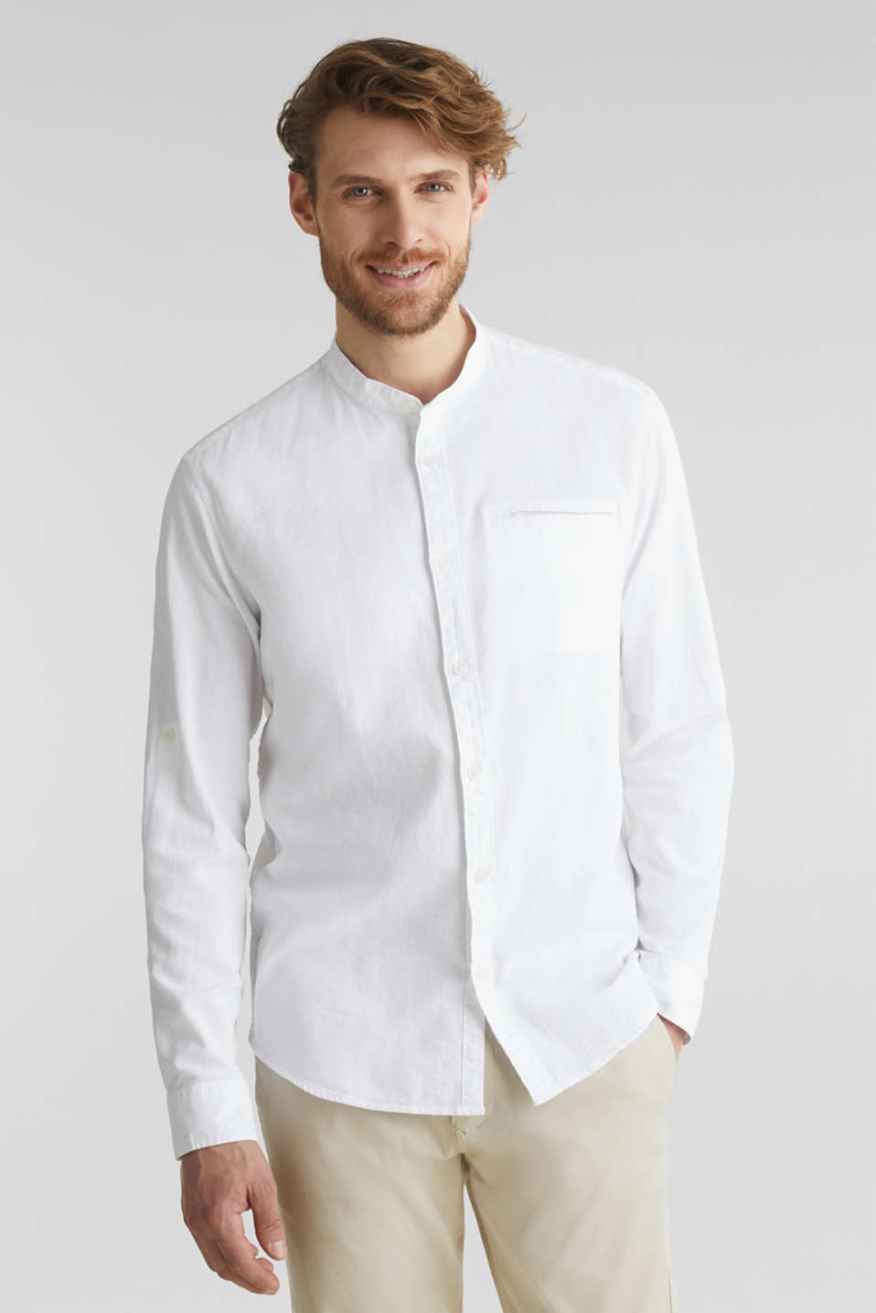 Esprit - Textured shirt made of 100% organic