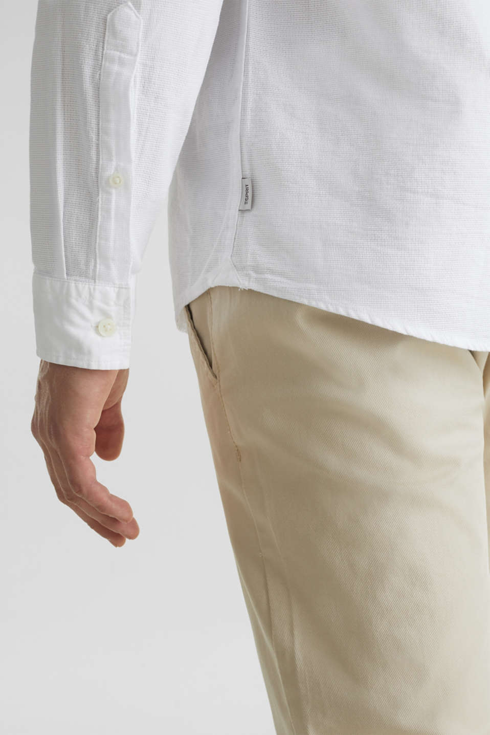 Textured shirt made of 100% organic, WHITE 5, detail image number 2