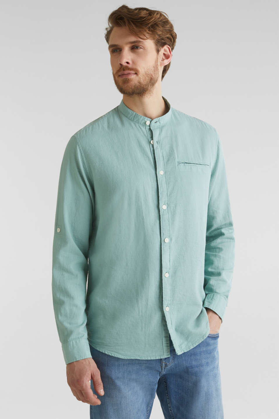 Textured shirt made of 100% organic, DUSTY GREEN 5, detail image number 0
