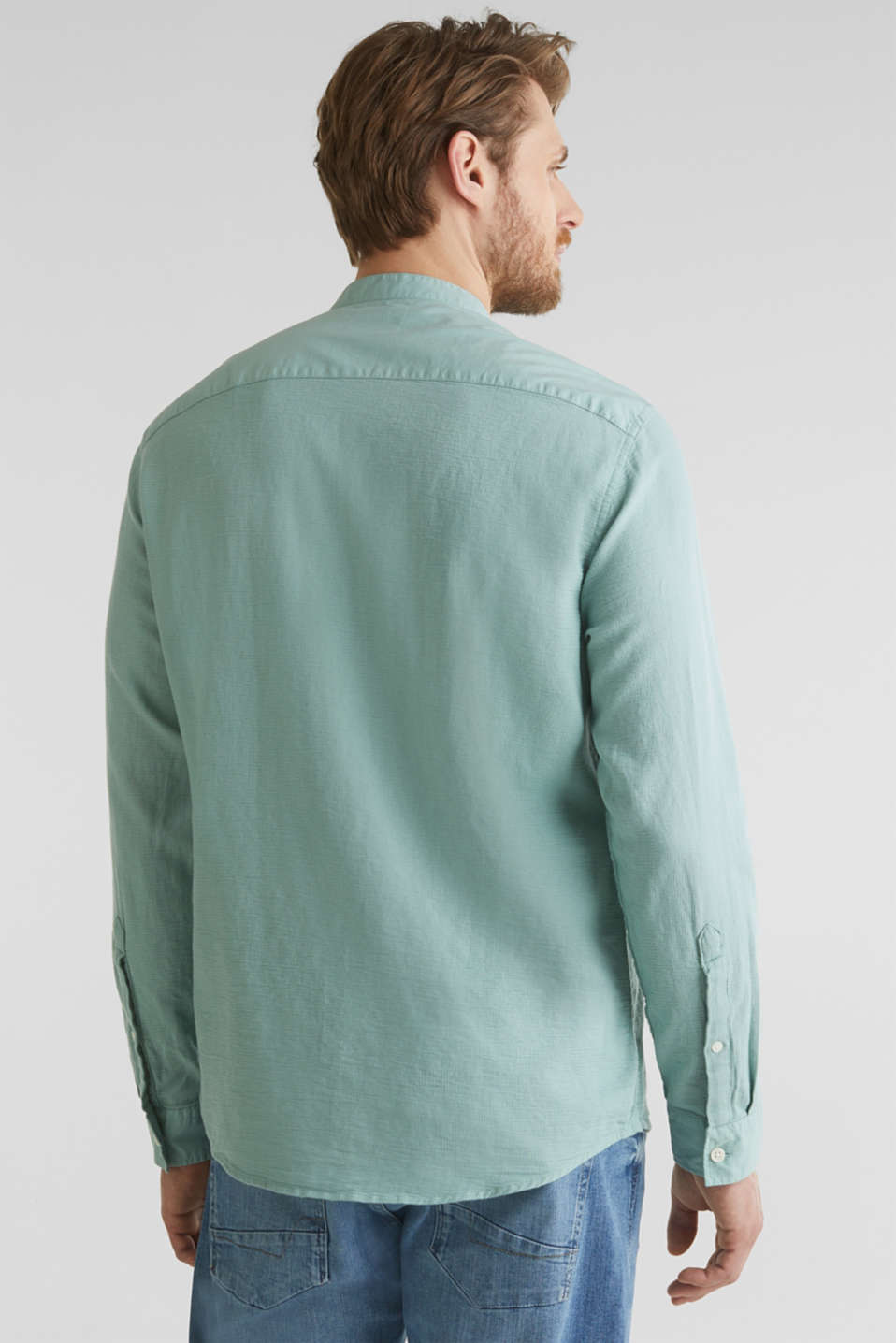 Textured shirt made of 100% organic, DUSTY GREEN 5, detail image number 3