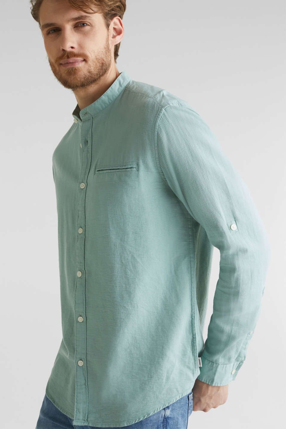 Textured shirt made of 100% organic, DUSTY GREEN 5, detail image number 5