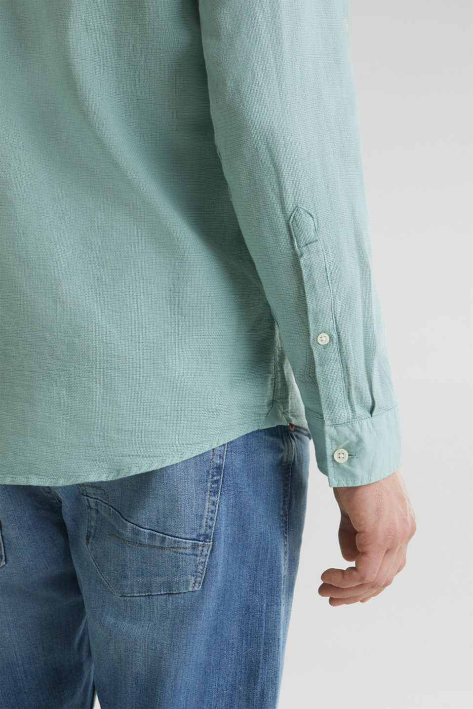 Textured shirt made of 100% organic, DUSTY GREEN 5, detail image number 2