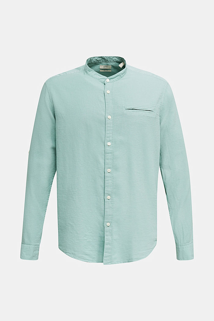 Textured shirt made of 100% organic, DUSTY GREEN, detail image number 7