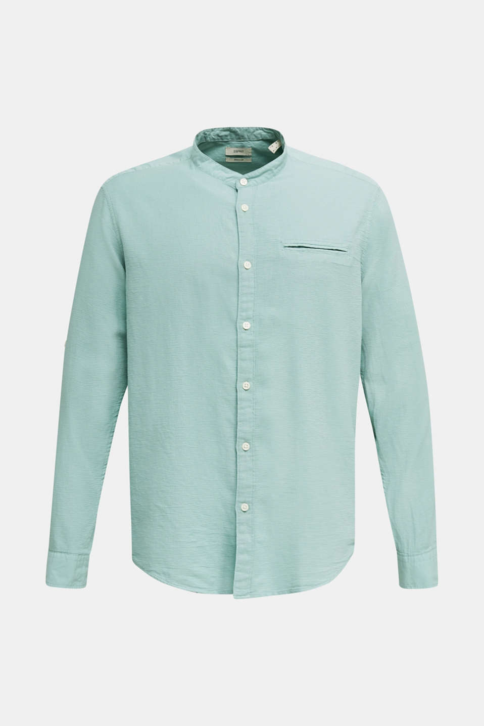 Textured shirt made of 100% organic, DUSTY GREEN 5, detail image number 7