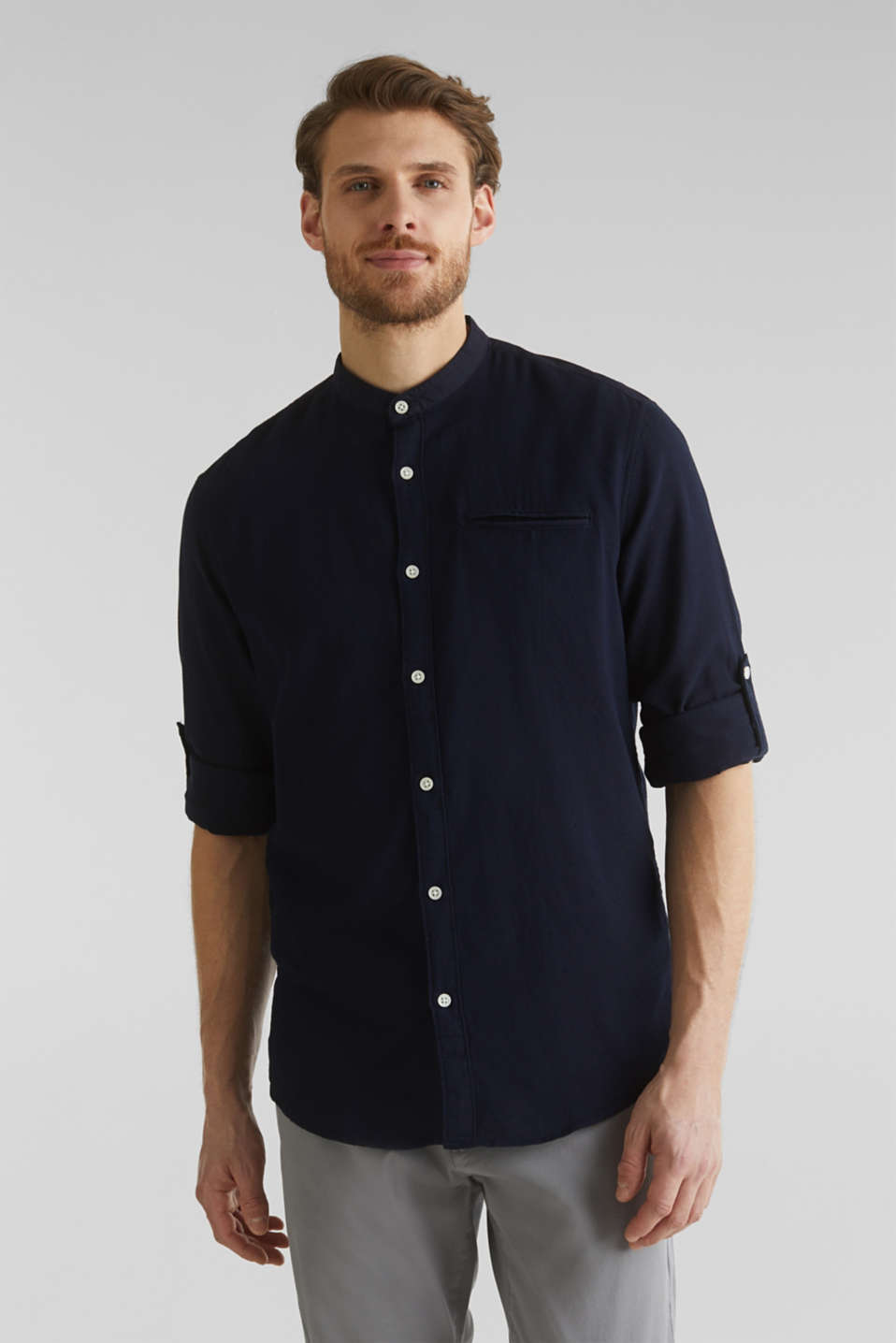 Textured shirt made of 100% organic, NAVY 5, detail image number 0