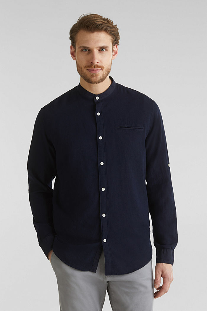 Textured shirt made of 100% organic, NAVY, detail image number 6
