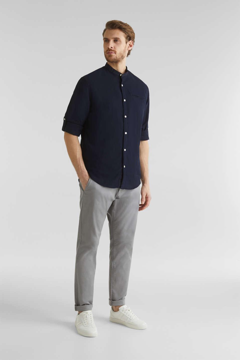Textured shirt made of 100% organic, NAVY 5, detail image number 1