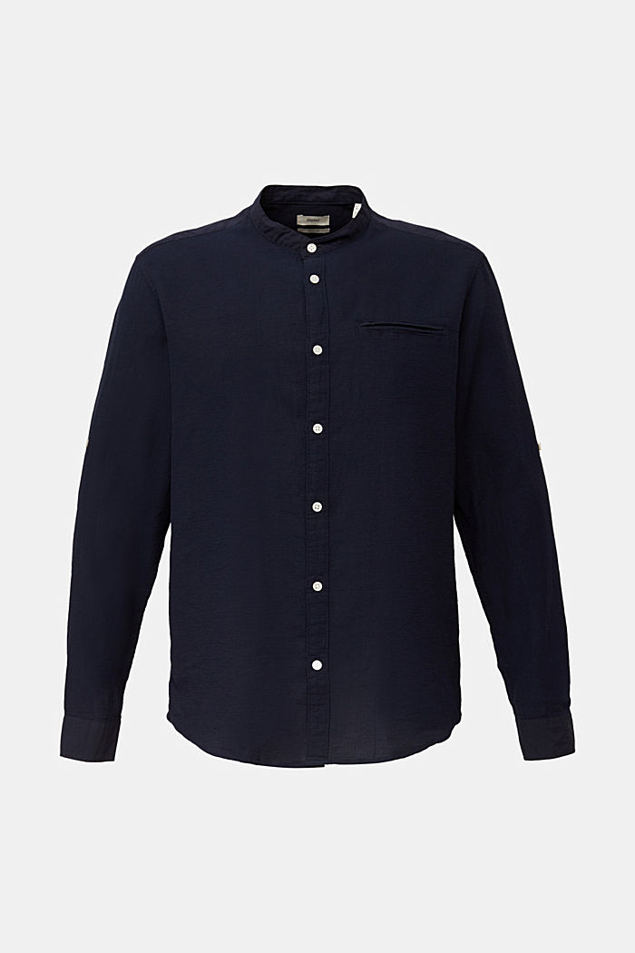 Textured shirt made of 100% organic, NAVY, detail image number 8