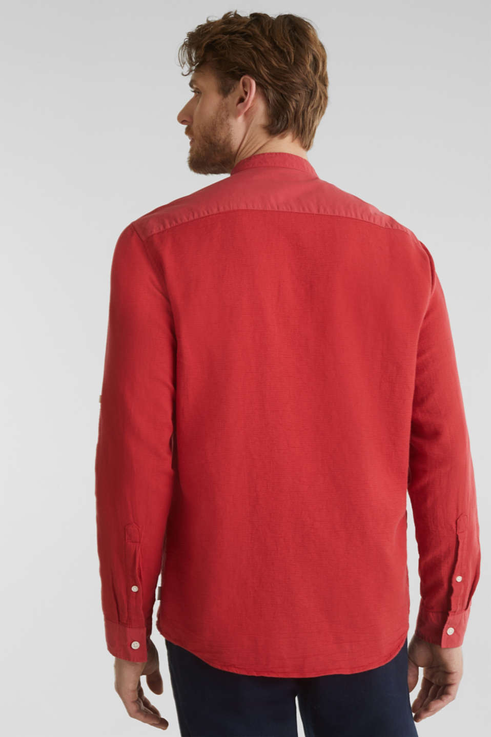 Textured shirt made of 100% organic, ORANGE RED 5, detail image number 3