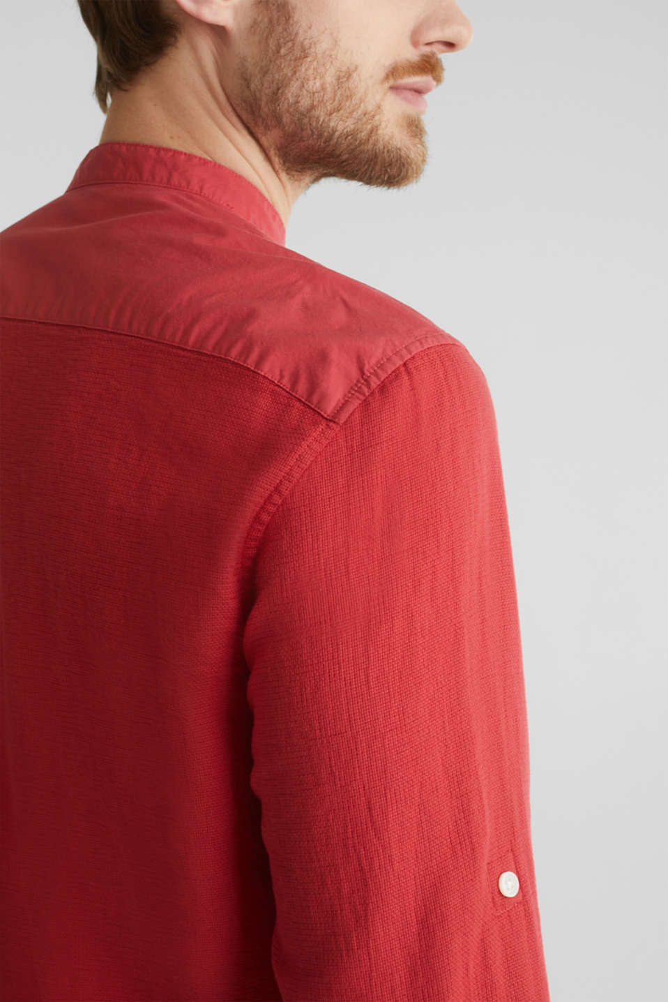 Textured shirt made of 100% organic, ORANGE RED 5, detail image number 2