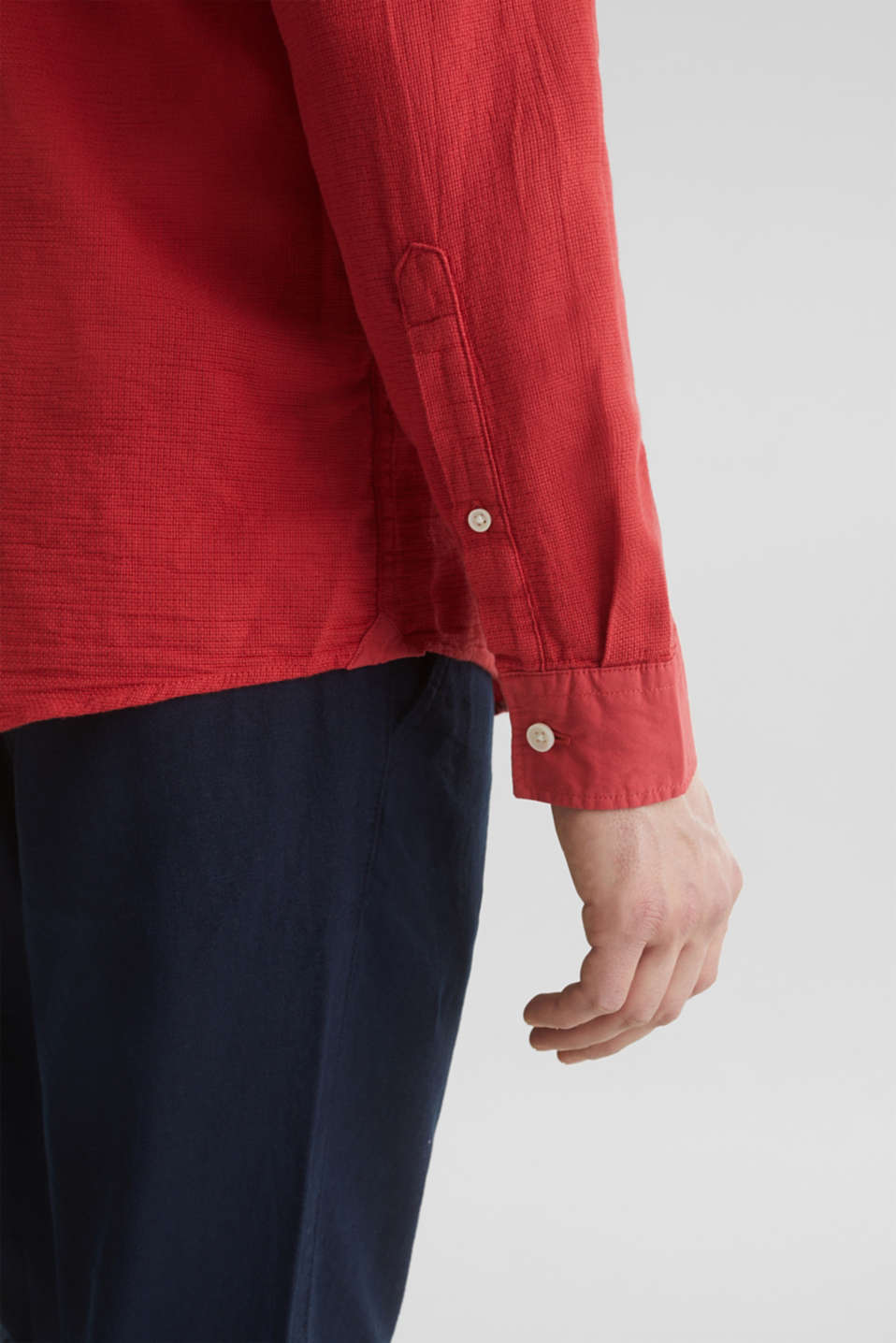 Textured shirt made of 100% organic, ORANGE RED 5, detail image number 5