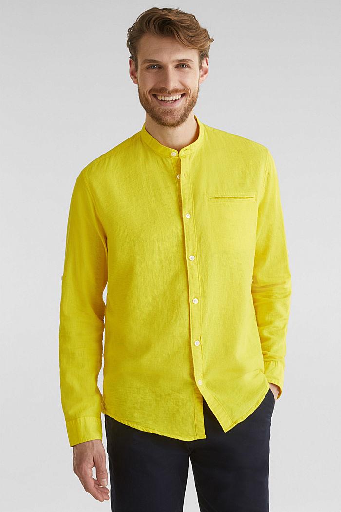 Gestructureerd overhemd van 100% biologisch katoen, YELLOW, detail image number 0