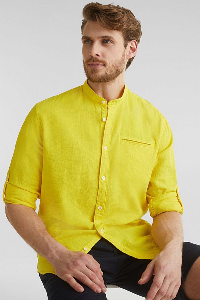 Gestructureerd overhemd van 100% biologisch katoen, YELLOW, detail image number 5