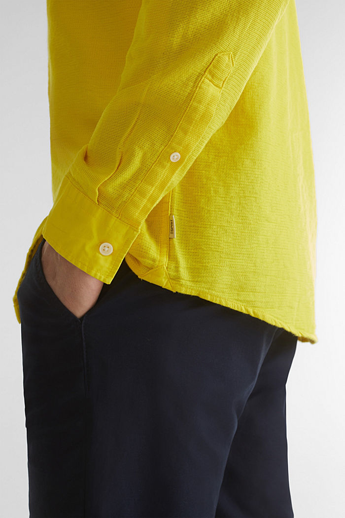 Gestructureerd overhemd van 100% biologisch katoen, YELLOW, detail image number 2