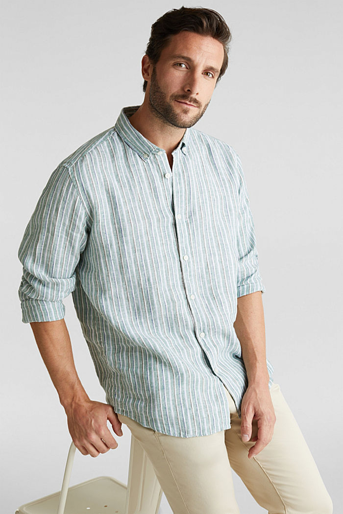 100% linen: Striped shirt, TEAL GREEN, overview