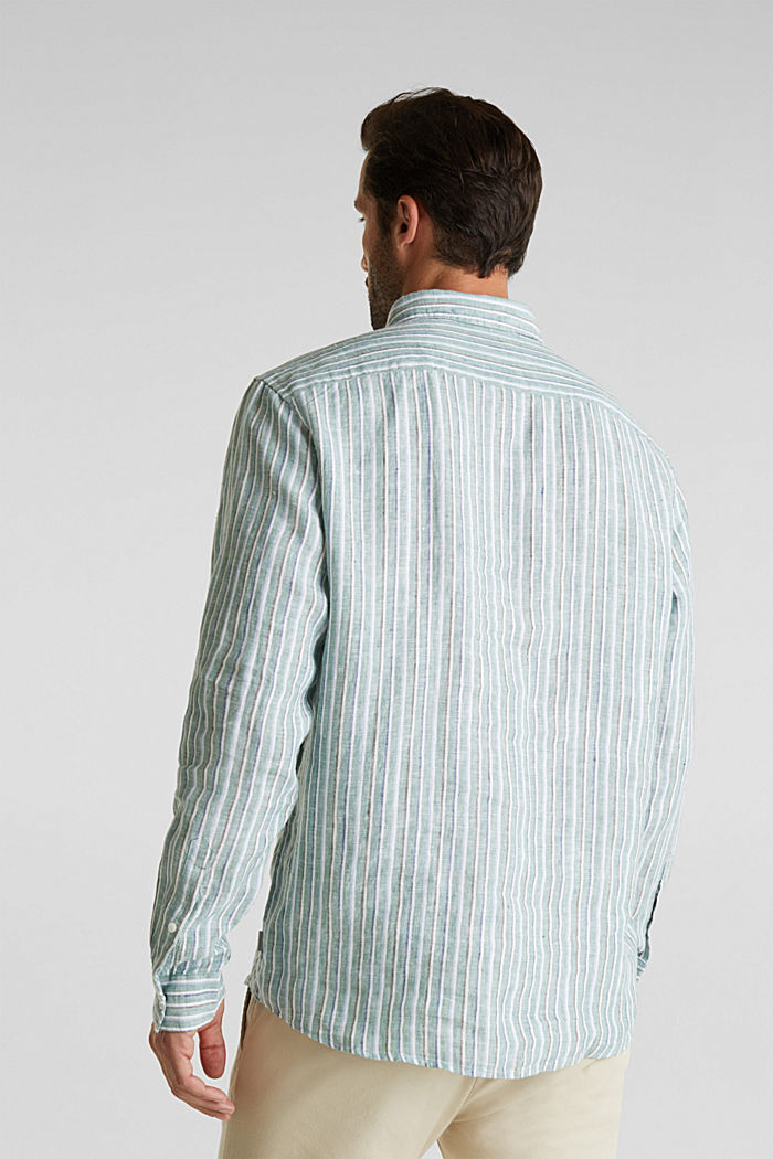 100% linen: Striped shirt, TEAL GREEN, detail image number 3