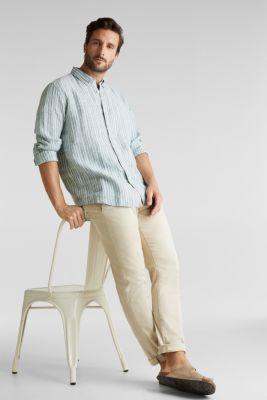 100% linen: Striped shirt, TEAL GREEN 3, detail