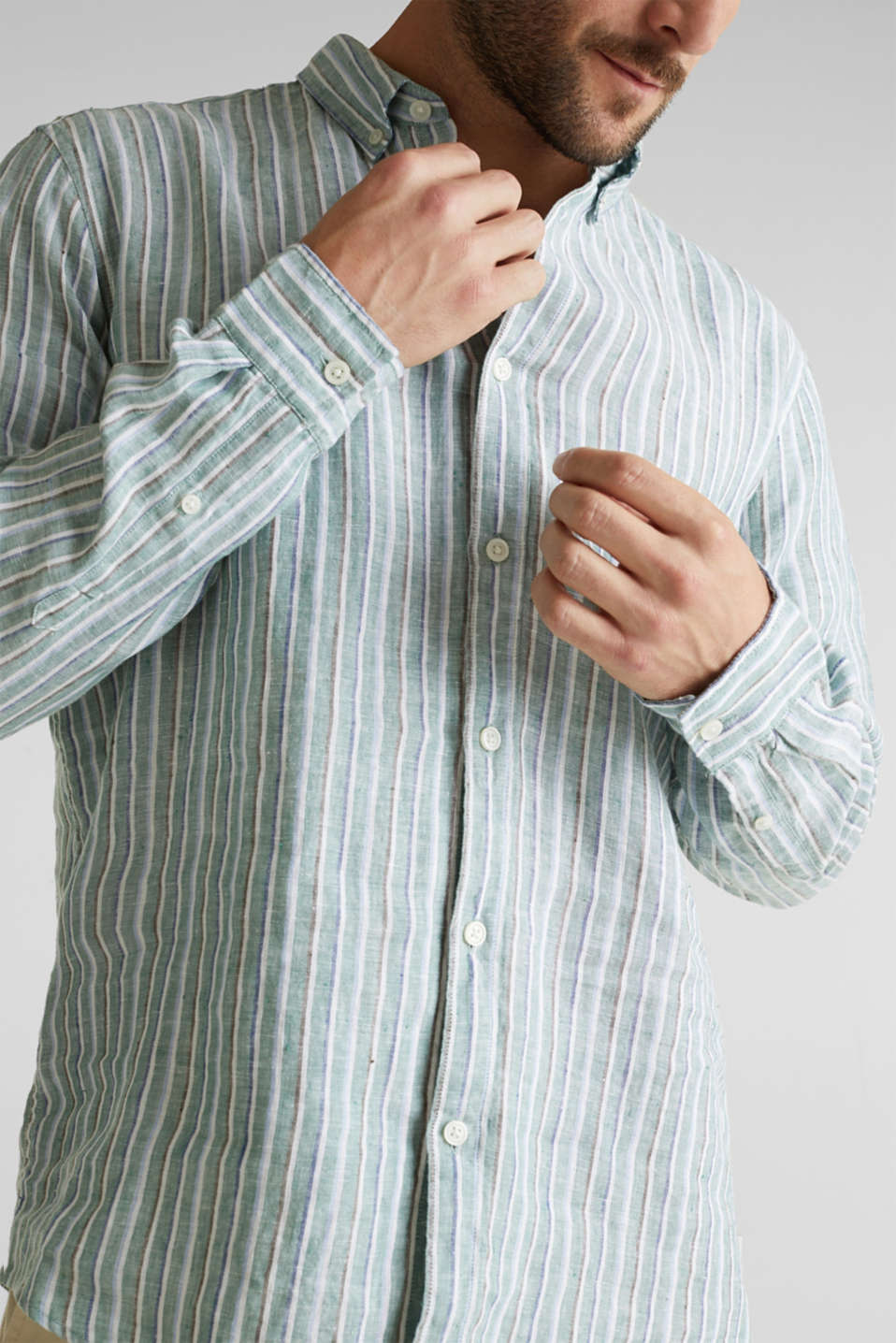 100% linen: Striped shirt, TEAL GREEN 3, detail image number 2