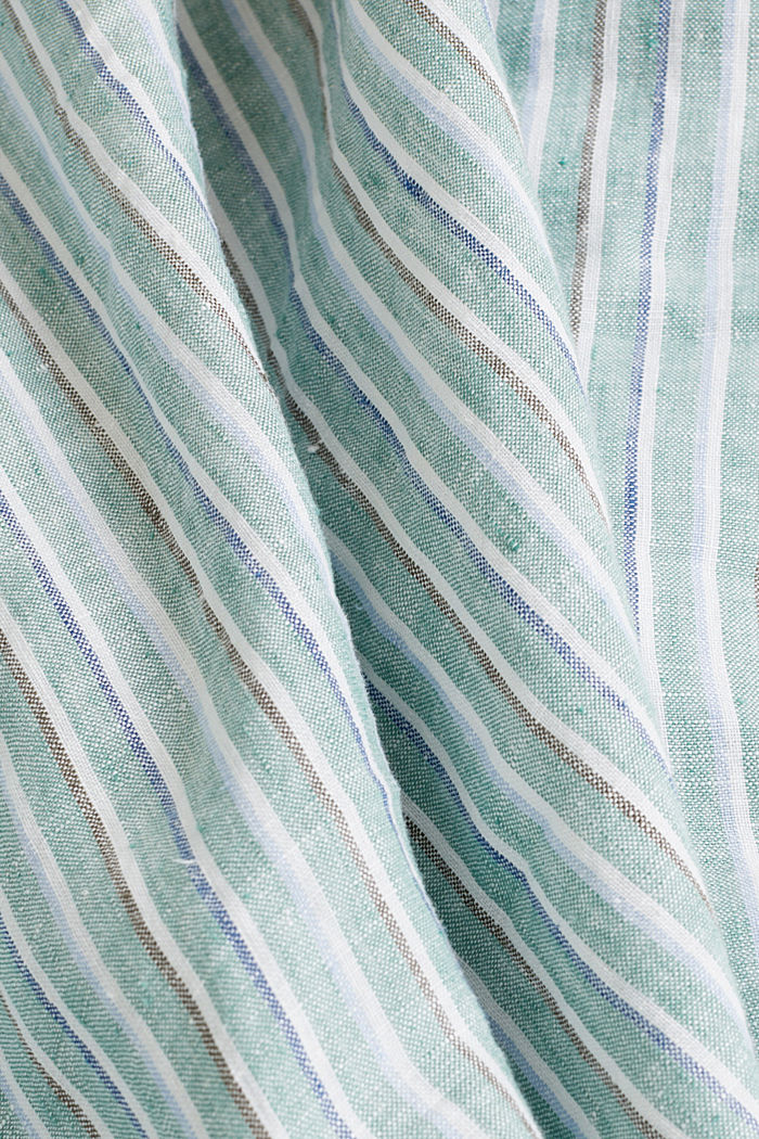 100% linen: Striped shirt, TEAL GREEN, detail image number 4