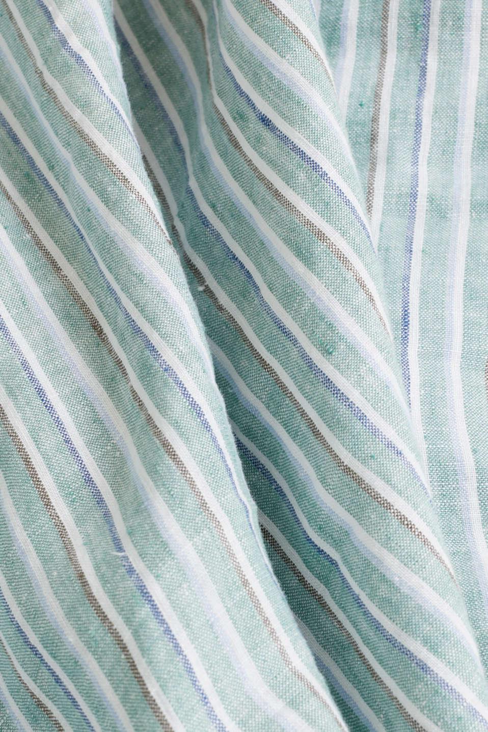 100% linen: Striped shirt, TEAL GREEN 3, detail image number 4