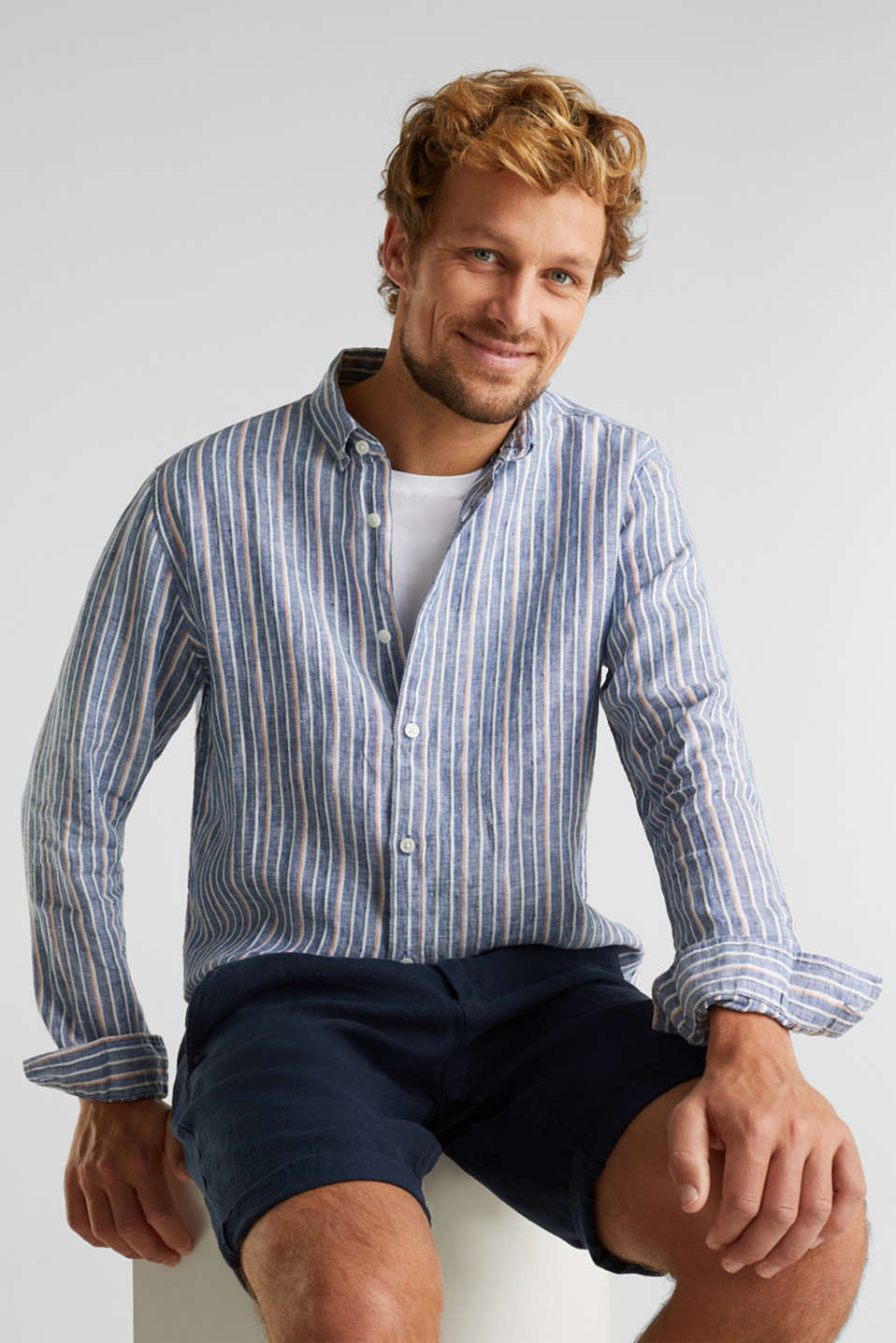 Esprit - 100% linen: Striped shirt