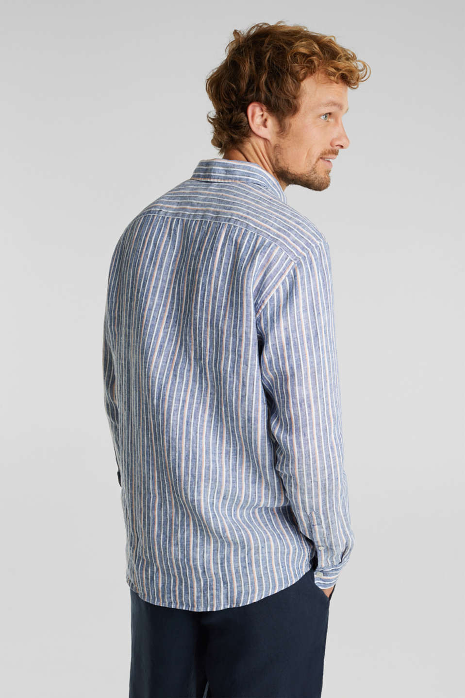 100% linen: Striped shirt, NAVY 3, detail image number 3