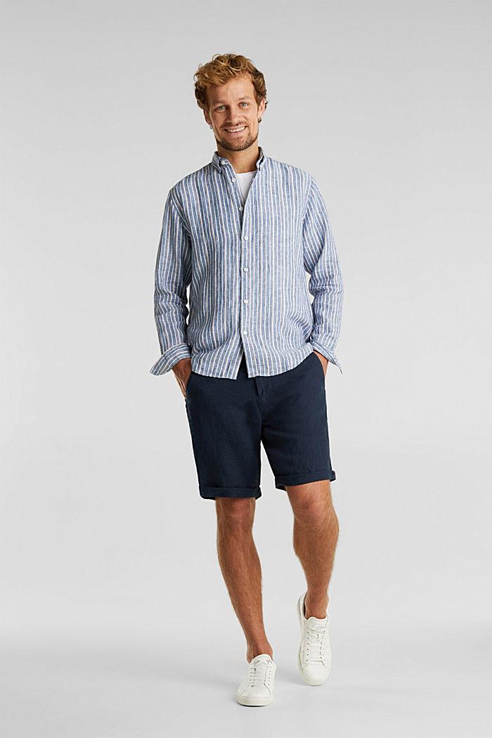 100% linen: Striped shirt, NAVY, detail image number 1