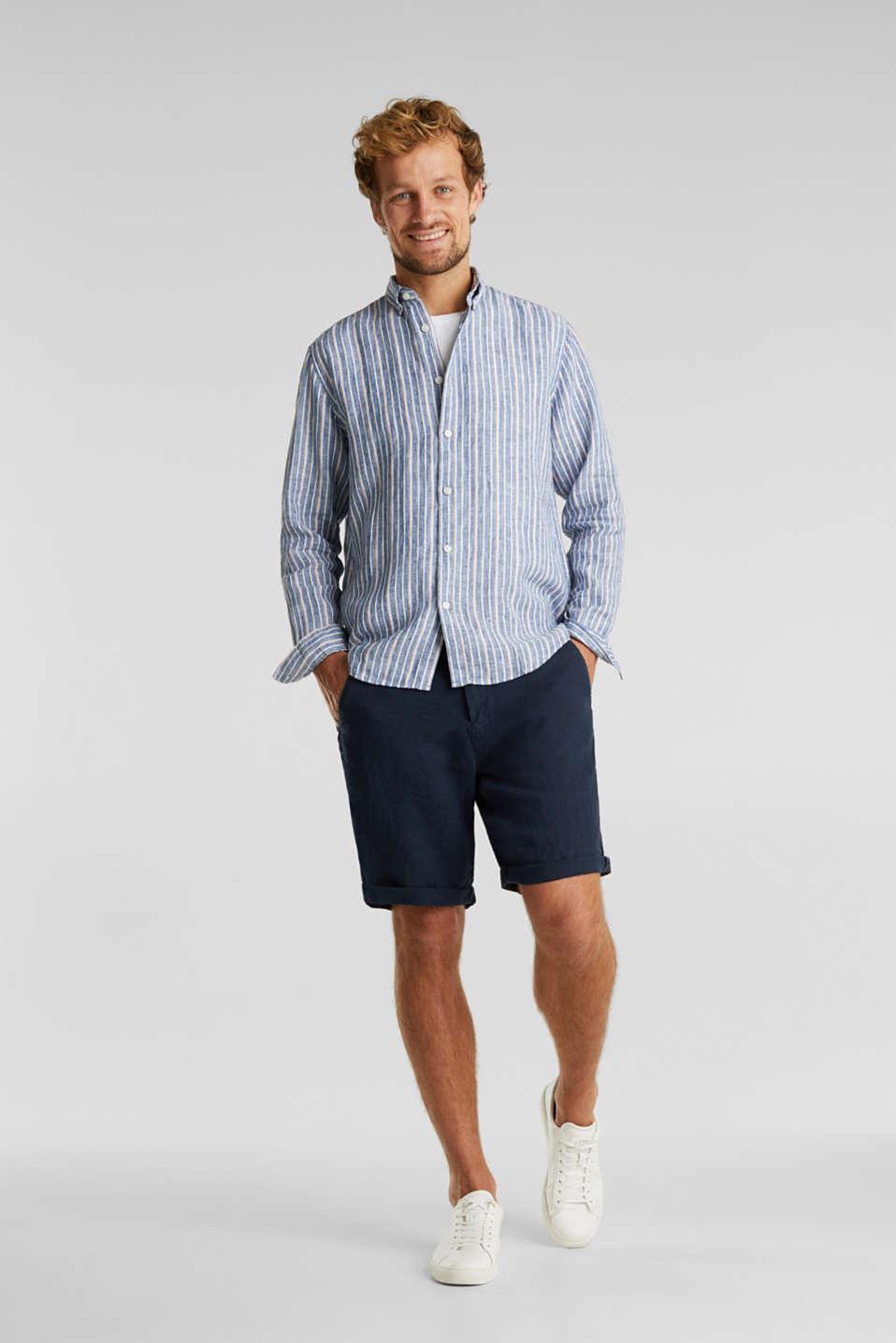 100% linen: Striped shirt, NAVY 3, detail image number 1