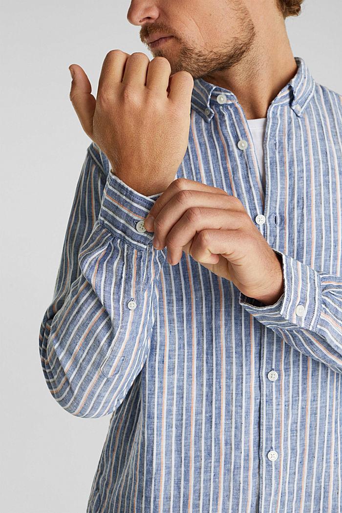 100% linen: Striped shirt, NAVY, detail image number 2