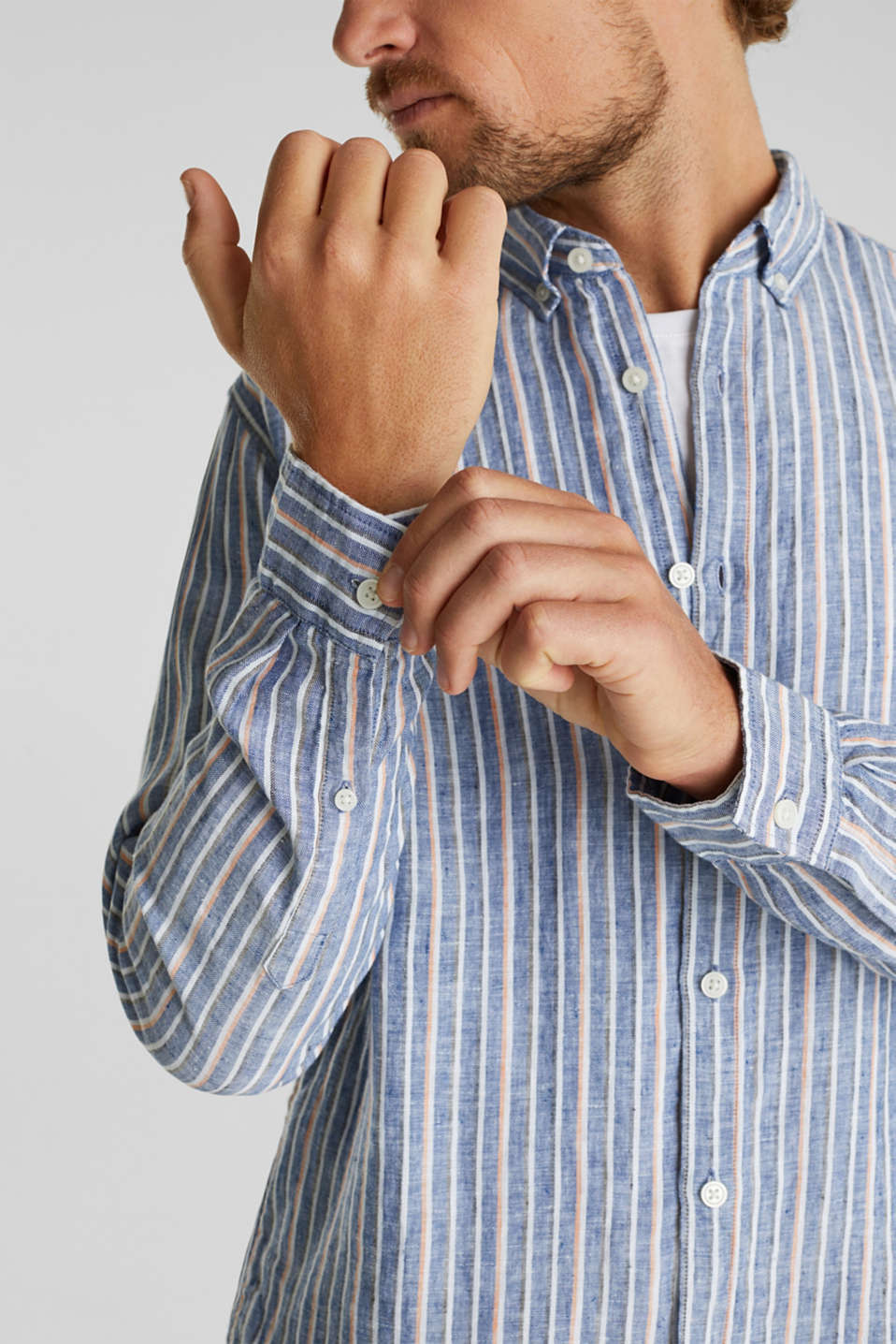 100% linen: Striped shirt, NAVY 3, detail image number 2