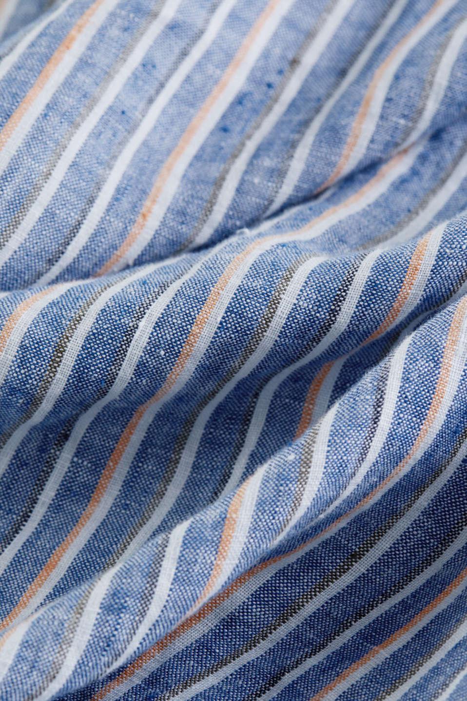100% linen: Striped shirt, NAVY 3, detail image number 4