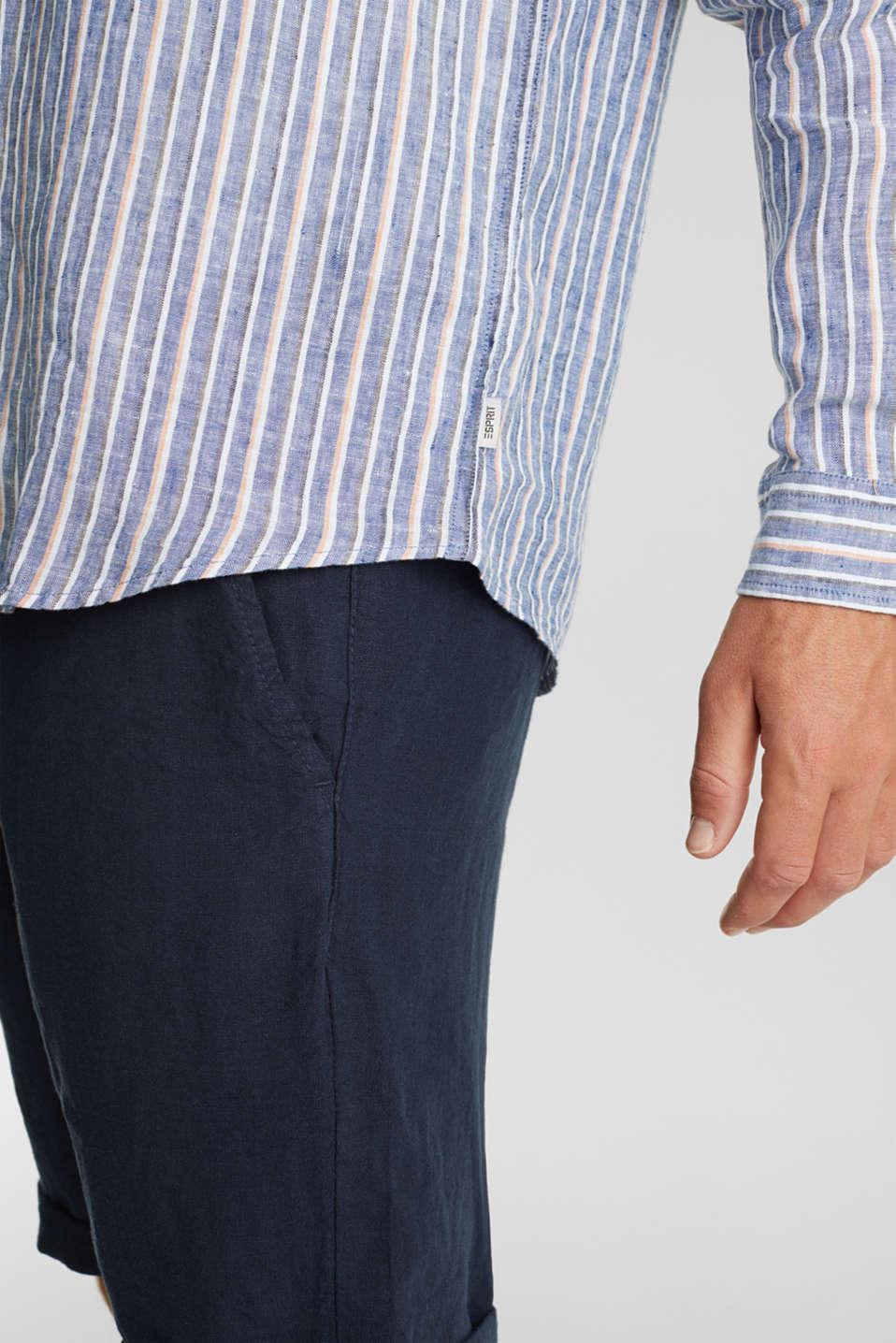 100% linen: Striped shirt, NAVY 3, detail image number 6