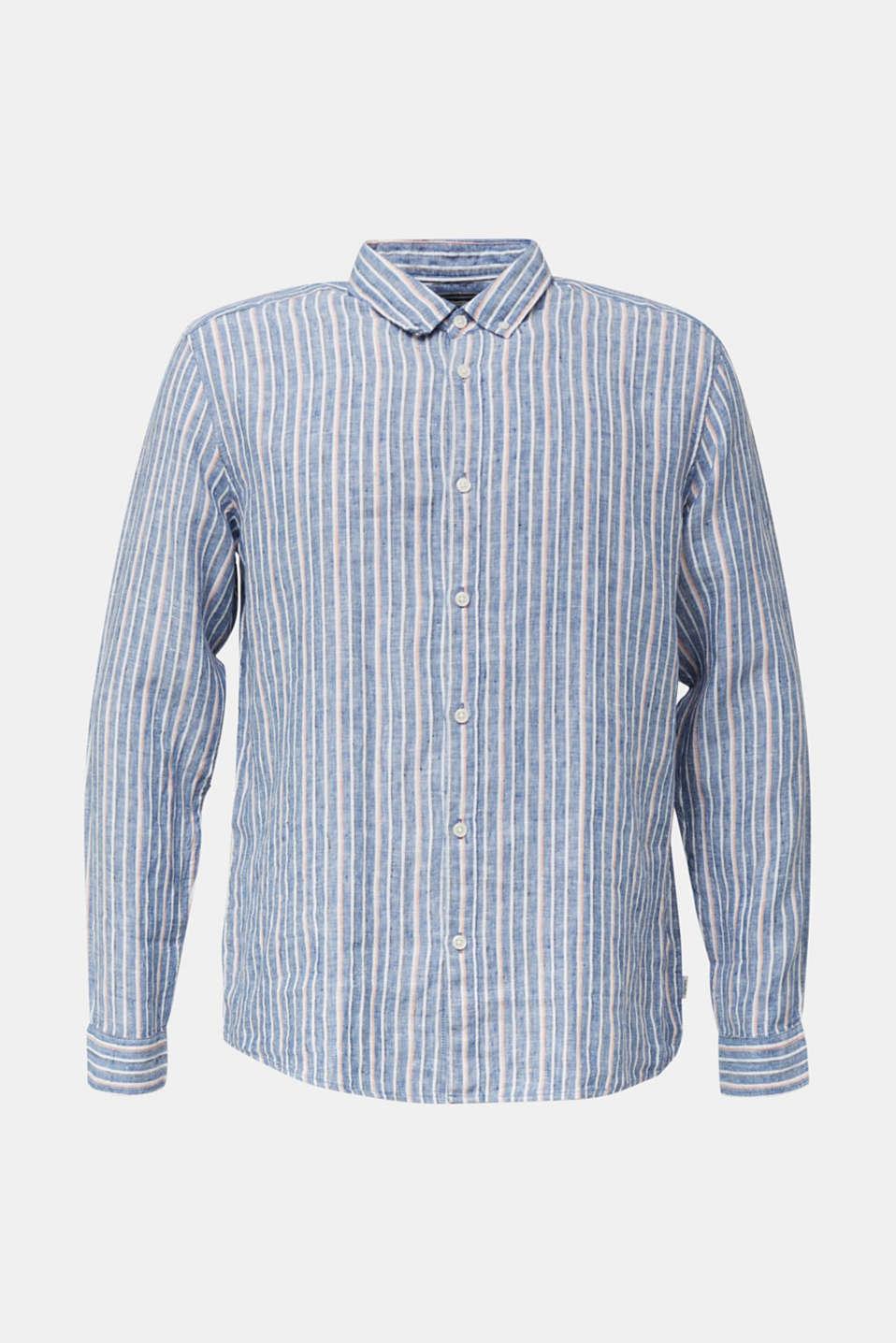 100% linen: Striped shirt, NAVY 3, detail image number 5