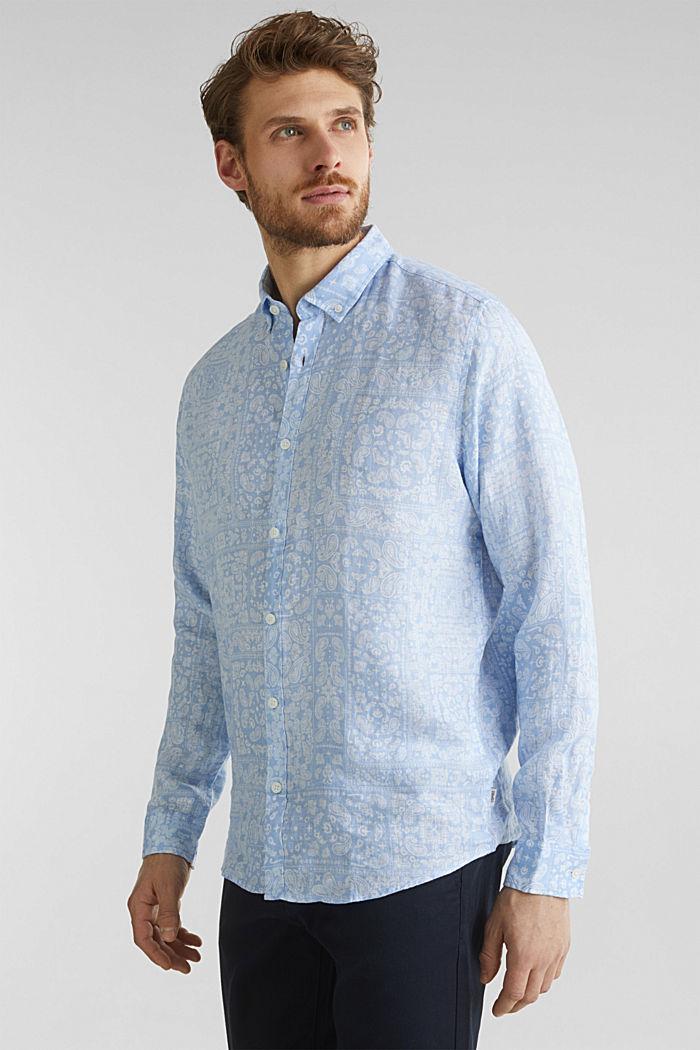 100% linen: paisley print shirt, PASTEL BLUE, detail image number 0