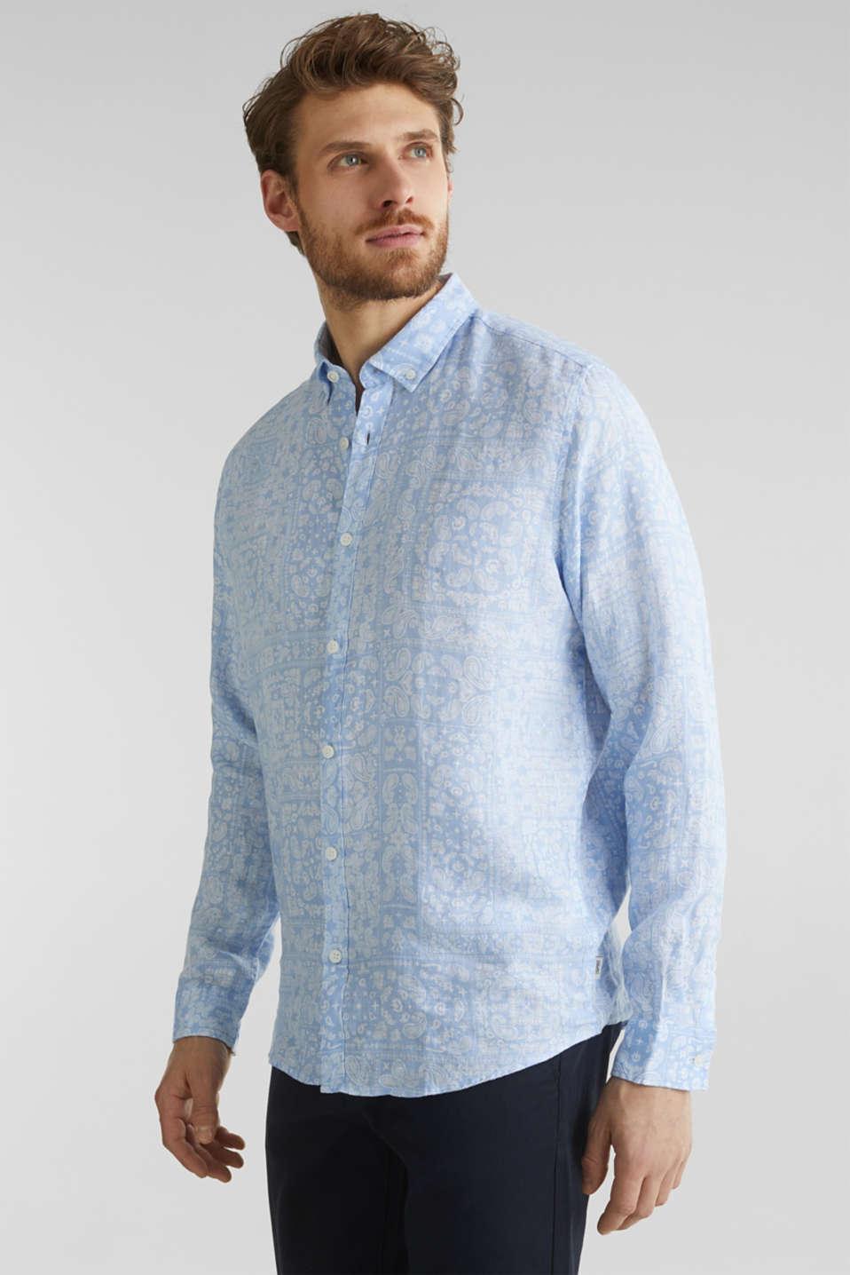 100% linen: paisley print shirt, PASTEL BLUE 4, detail image number 0
