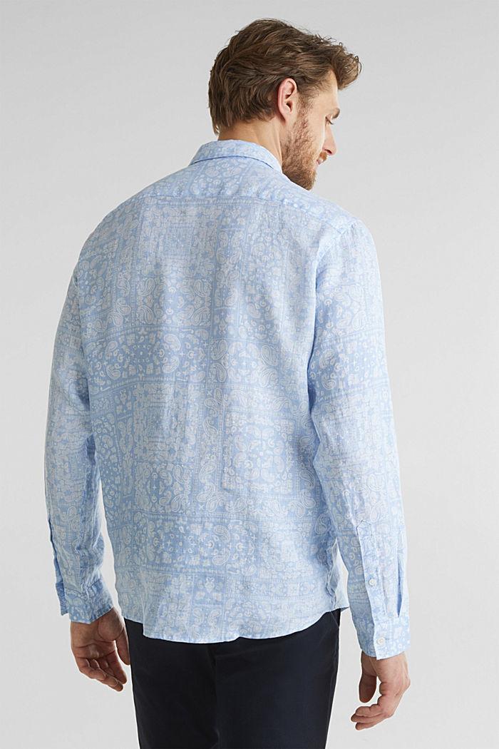 100% linen: paisley print shirt, PASTEL BLUE, detail image number 3
