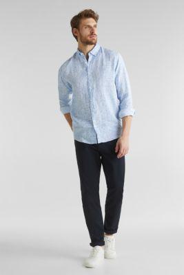 100% linen: paisley print shirt, PASTEL BLUE 4, detail
