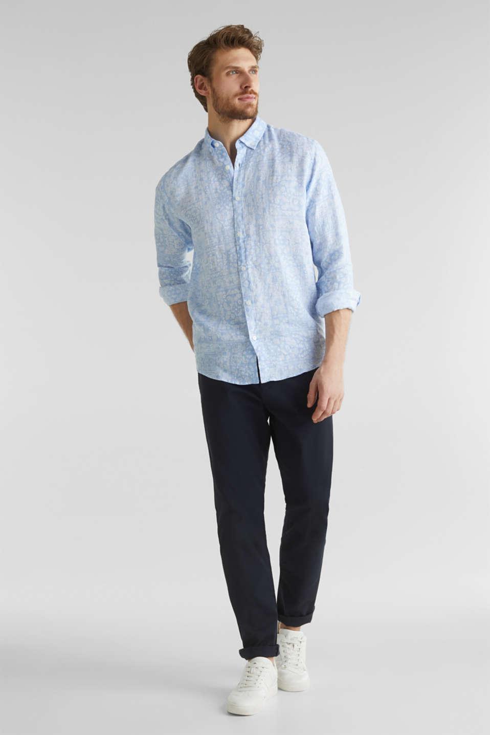 100% linen: paisley print shirt, PASTEL BLUE 4, detail image number 1