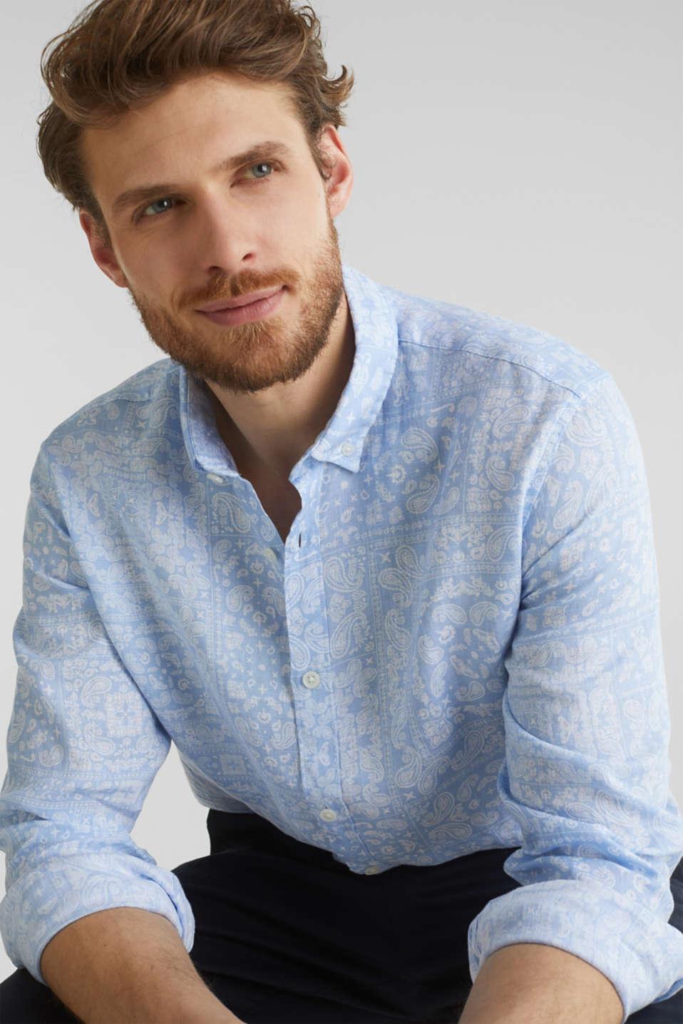 100% linen: paisley print shirt, PASTEL BLUE 4, detail image number 2