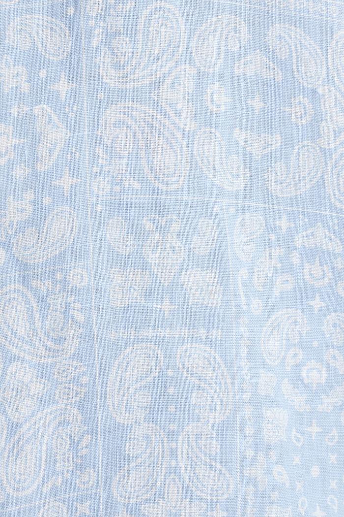 100% linen: paisley print shirt, PASTEL BLUE, detail image number 4