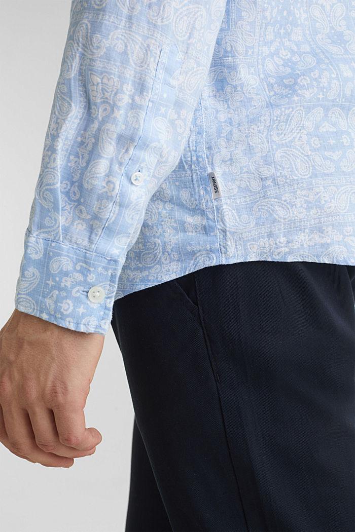 100% linen: paisley print shirt, PASTEL BLUE, detail image number 5