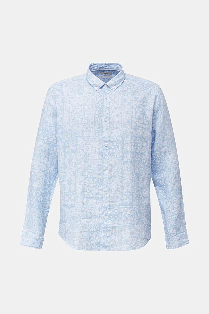100% linen: paisley print shirt, PASTEL BLUE, detail image number 6