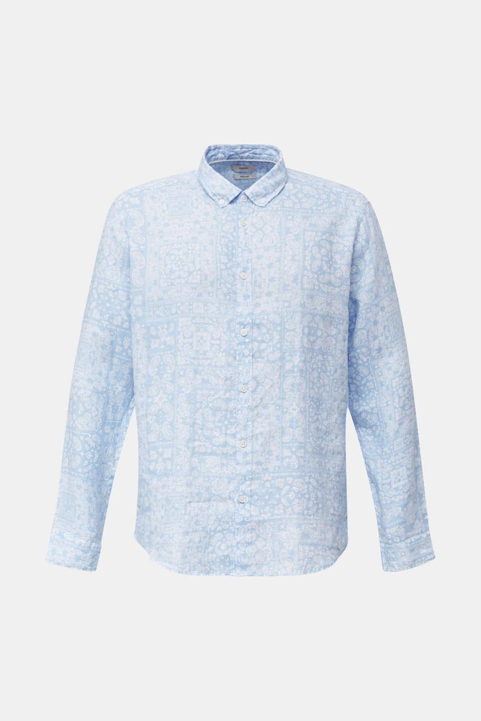100% linen: paisley print shirt, PASTEL BLUE 4, detail image number 6