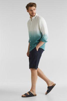 100% linen: batik-style shirt, TEAL GREEN 2, detail
